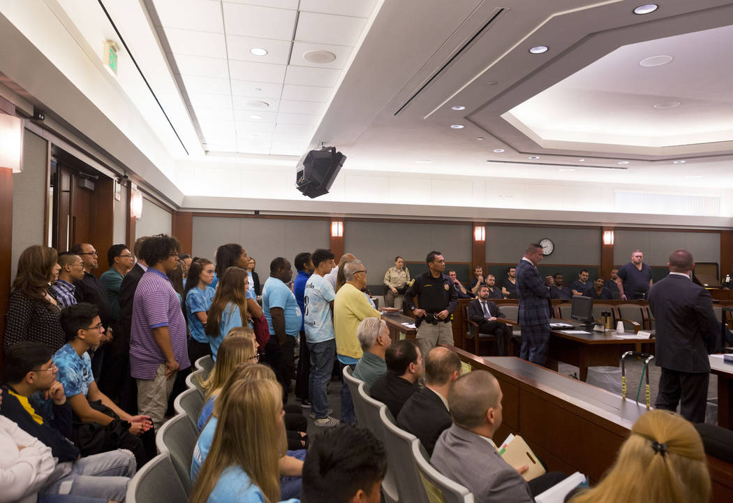 Classmates, friends and family of 16-year-old Jaelan Fajardo fill the courtroom during the sentencing of David Fensch at the Regional Justice Center in Las Vegas on Thursday, Aug. 24, 2017. Fensch ...