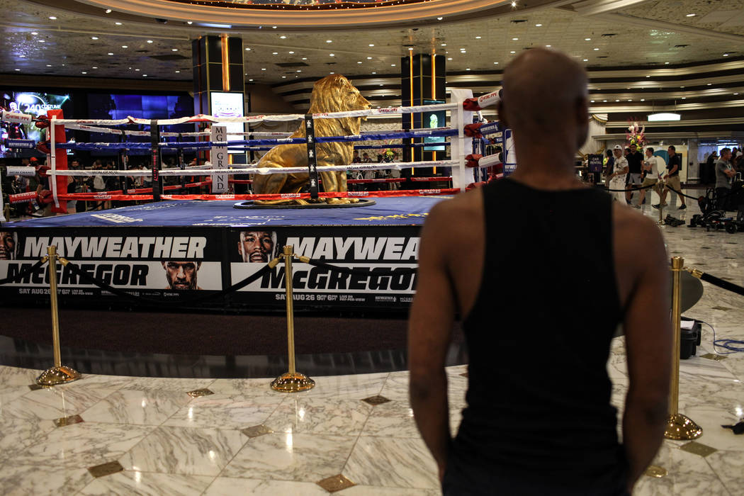 A statue of the MGM lion sits inside a boxing ring at the MGM Grand lobby as guests check in to their hotel rooms in Las Vegas on Aug. 24, 2017. Joel Angel Juarez Las Vegas Review-Journal @jajuare ...