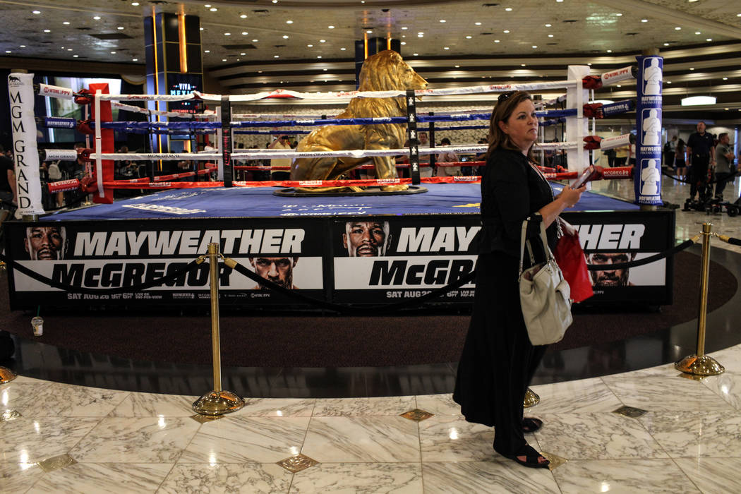 Nancy Buckley of Boston stands near a statue of the MGM lion at the MGM Grand lobby in Las Vegas on Aug. 24, 2017. Joel Angel Juarez Las Vegas Review-Journal @jajuarezphoto