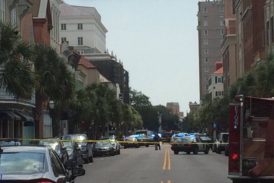 Police are investigating an active shooter scene on King Street in Charleston, South Carolina, Thursday, Aug. 24, 2017. (Andrew Knapp/Post and Courier via Twitter)