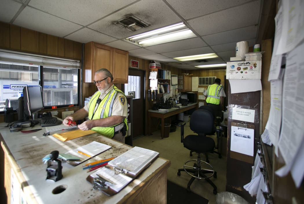 Walt Shinen, left, and Elliott Morris, both supervisors, work inside the office of the California agricultural inspection station Friday, Aug. 25, 2017, on Interstate 15 in Yermo. (Bizuayehu Tesfa ...