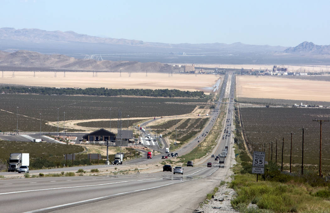 The area, seven miles south of Primm, on Interstate 15 where the proposed California agricultural inspection station will be built on Friday, Aug. 25, 2017, on, near Nipton Road exit in Calif. (Bi ...