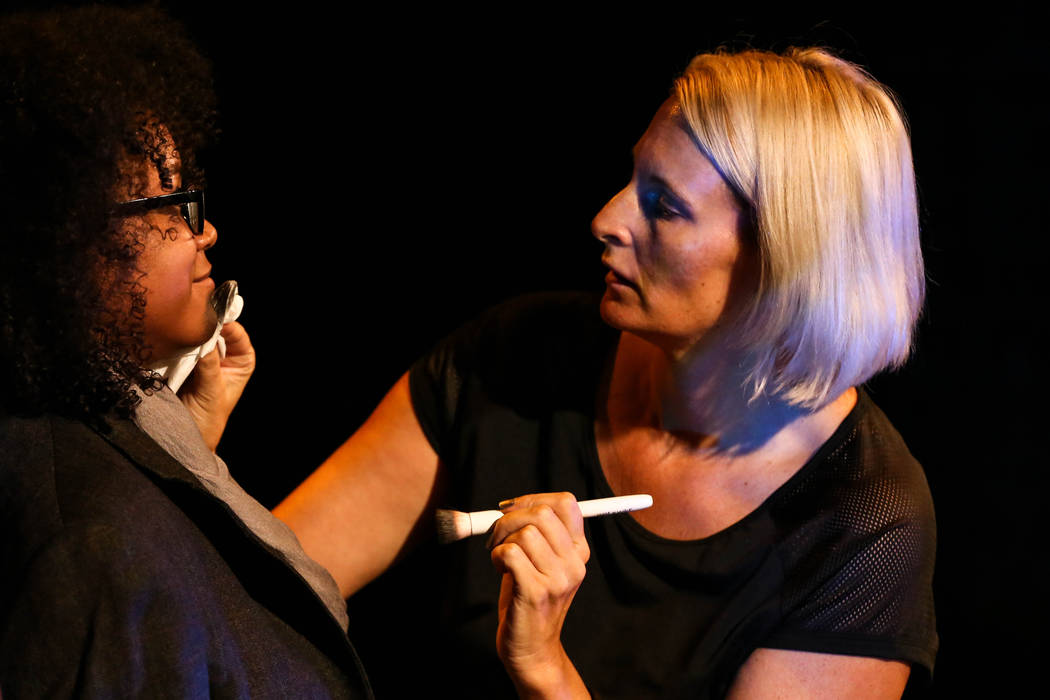 "Ginger Land adjusts makeup on Nicole Harris during a rehearsal of ""The Seven Deadly Sins"" at the Art Square Theatre in Las Vegas on Aug. 28, 2017. Joel Angel Juarez Las Vegas Rev ..."