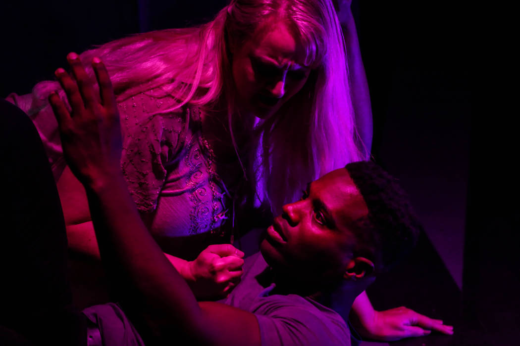 "Rebecca Morris, above, pounds the chest of Mychal Fox, below, during a rehearsal of ""Erwartung"" at the Art Square Theatre in Las Vegas on Aug. 28, 2017. Joel Angel Juarez Las Veg ..."