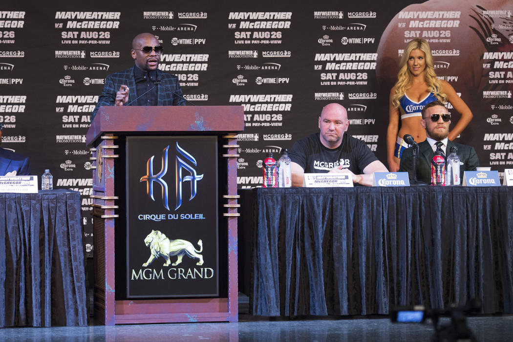 Floyd Mayweather speaks during the final news conference Wednesday, Aug. 23, 2017, at the MGM Grand before his scheduled Aug. 26 fight against Conor McGregor. Sam Morris/Las Vegas News Bureau