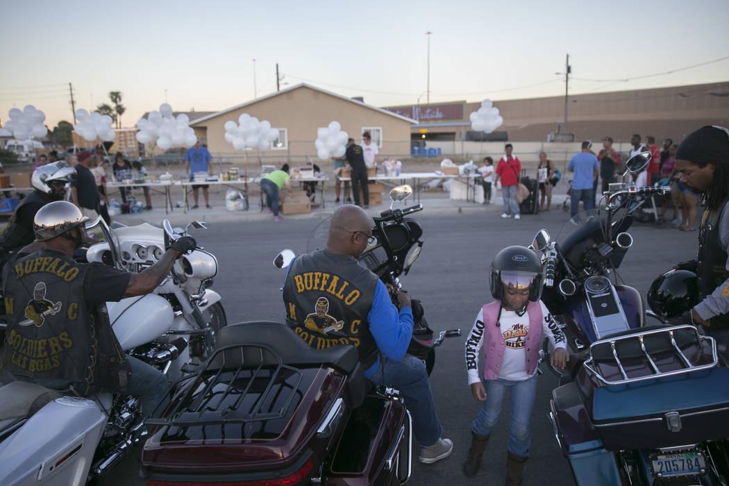 The Buffalo Soldier Motorcycle Club of Las Vegas arrives at the Homeless Lives Matter free dinner in slain homeless man Daniel Aldape's memory, Thursday, Aug. 24,  2017, in Las Vegas. Gabriella An ...