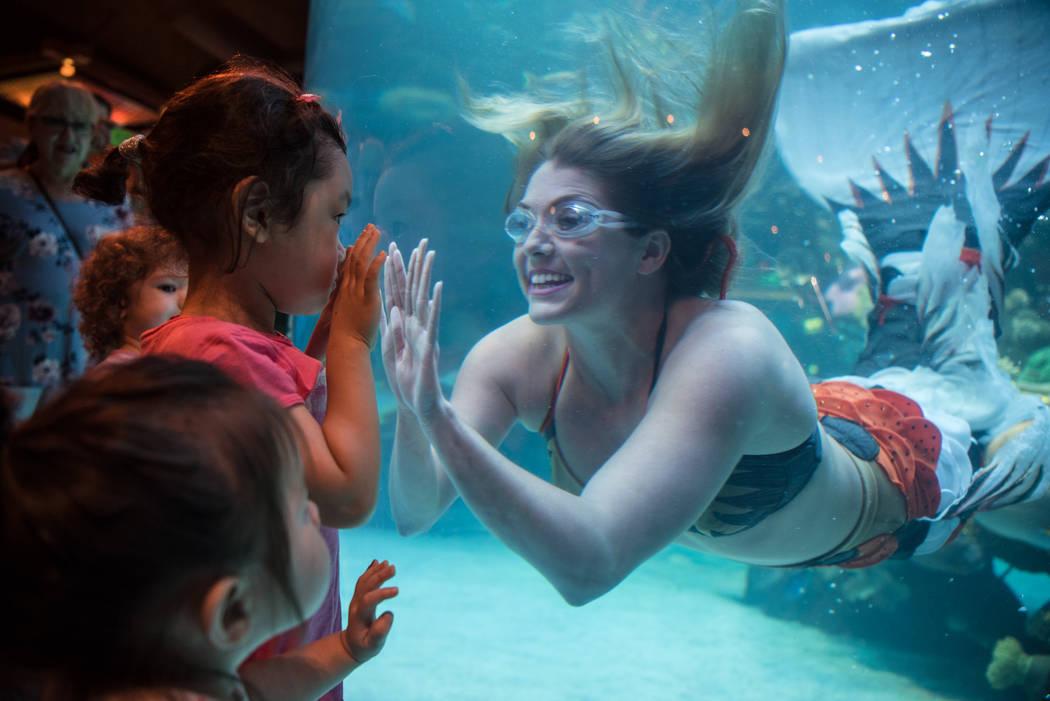 Nicole Grant expresses friendly greetings to Hazel Kim, 3, at her mermaid show at Silverton hotel-casino on Thursday, Aug. 24, 2017, in Las Vegas. Morgan Lieberman Las Vegas Review-Journal