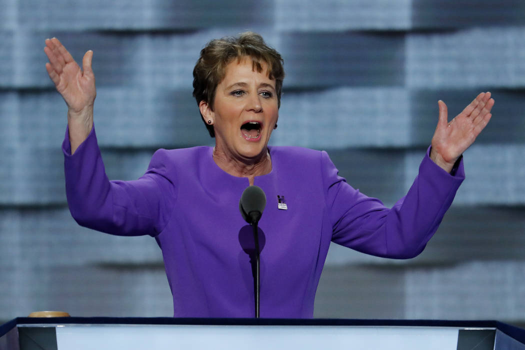 In this July 25, 2016, file photo, Mary Kay Henry, President of SEIU speaks during the first day of the Democratic National Convention in Philadelphia. (AP Photo/J. Scott Applewhite)