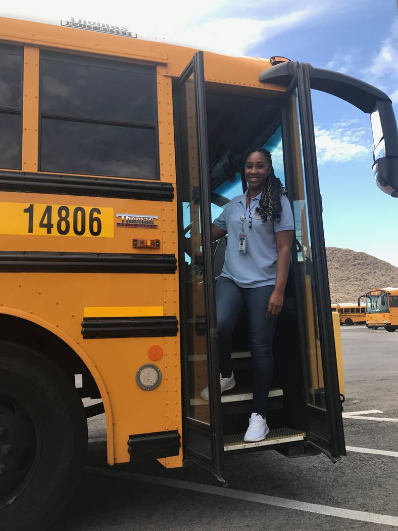 Jasmine Brown, a bus driver who started with the Clark County School District last October, found the job appealing because of its flexible time schedule. Amelia Pak-Harvey/Las Vegas Review-Journal)