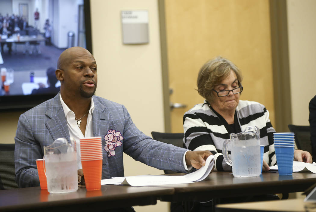 Nevada Equal Rights Commission board members Kevin Hooks, left, and Charlotte Centuori during a disciplinary hearing for Bar Two LLC, which operates two Fat Tuesday locations, after a co-owner was ...