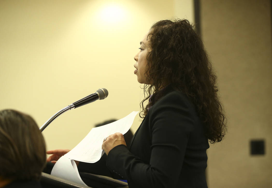 Deputy Attorney General Sophia Long addresses the Nevada Equal Rights Commission during a disciplinary hearing for Bar Two LLC, which operates two Fat Tuesday locations, after a co-owner was accus ...