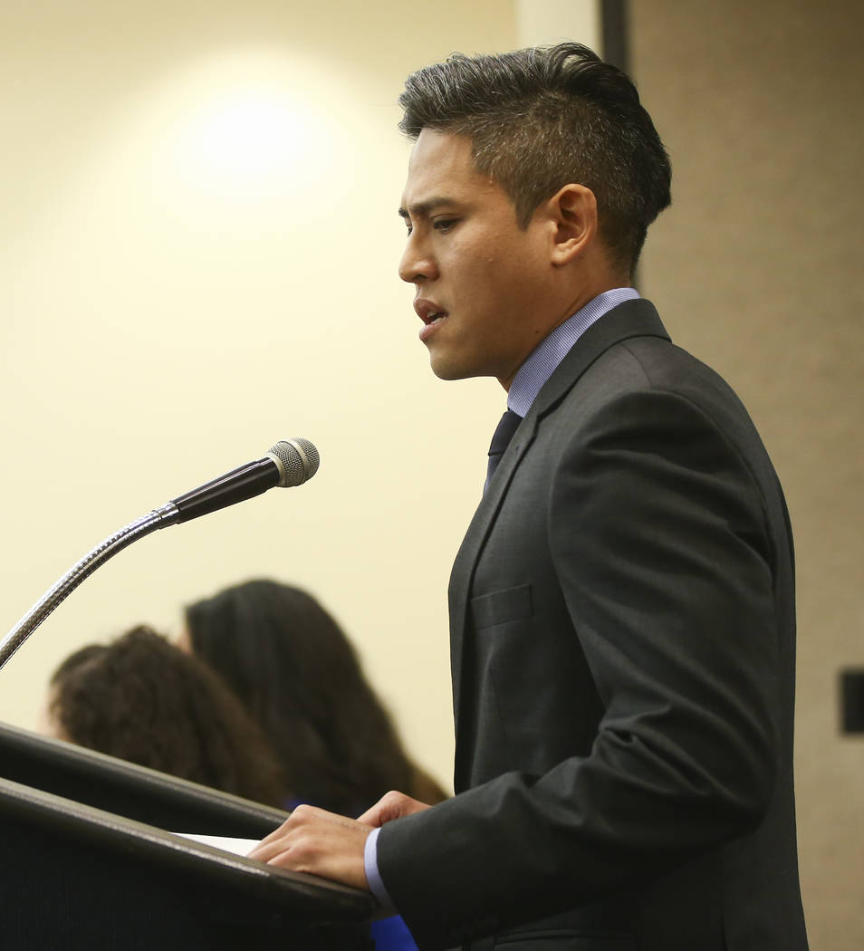 Eddie Yan address the Nevada Equal Rights Commission board during a disciplinary hearing for Bar Two LLC, which operates two Fat Tuesday locations, after a co-owner was accused of sexual harassmen ...