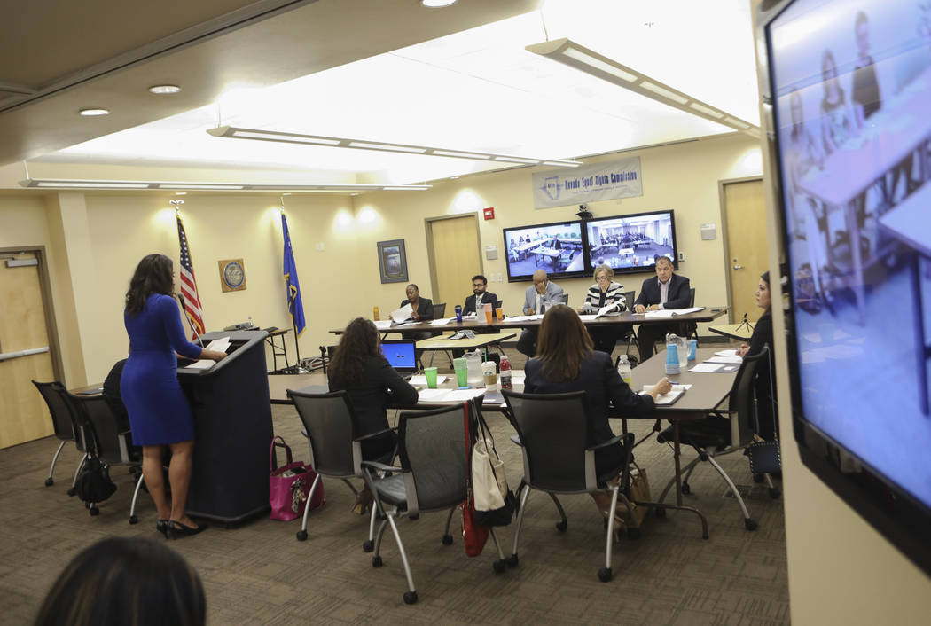 Nevada Equal Rights Commission Administrator Kara Jenkins addresses the NERC board on during a disciplinary hearing for Bar Two LLC, which operates two Fat Tuesday locations, after a co-owner was  ...
