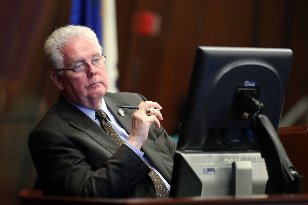 Nevada Assembly Speaker John Hambrick, R-Las Vegas, listens to Assembly floor discussion at the Legislative Building in Carson City, Nev., on Monday, June 1, 2015. Cathleen Allison Las Vegas Revie ...