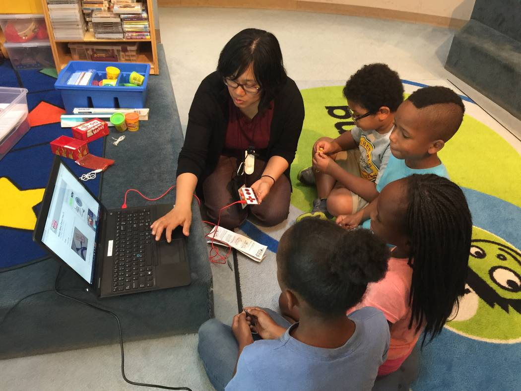 Tala Miranda shows students the Makey Makey toy on Wednesday, Aug. 23. (Briana Erickson/Las Vegas Review-Journal) @brianarerick