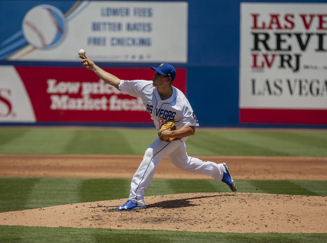 Las Vegas 51s pitcher Mitch Atkins, shown earlier in the season against Salt Lake, took the loss on Thursday and fell to 4-7.  Patrick Connolly Las Vegas Review-Journal @PConnPie