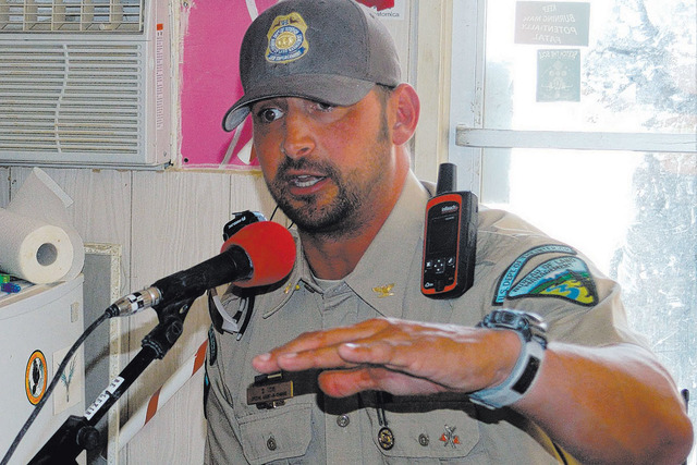 Daniel Love, special agent in charge for the the Bureau of Land Management in Nevada and Utah, gives a radio interview during the Burning Man festival in 2015. Love has been picked to oversee secu ...