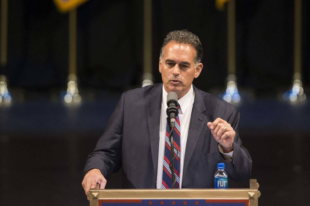 Republican Congressional District 3 candidate Danny Tarkanian speaks during a campaign rally for Republican presidential candidate Donald Trump at the Treasure Island hotel-casino on Saturday, Jun ...