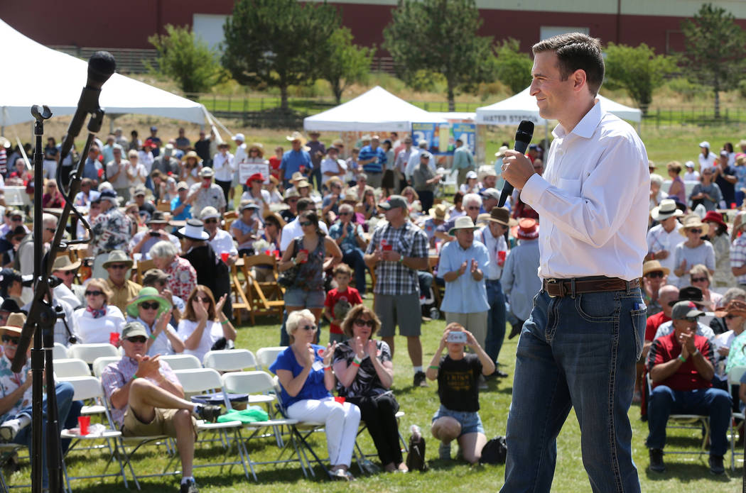 Nevada Attorney General Adam Laxalt speaks to a crowd of about 1,500 at the Inaugural Basque Fry in Gardnerville, Nev., on Saturday, Aug. 15, 2015. The event drew a handful of Republican president ...