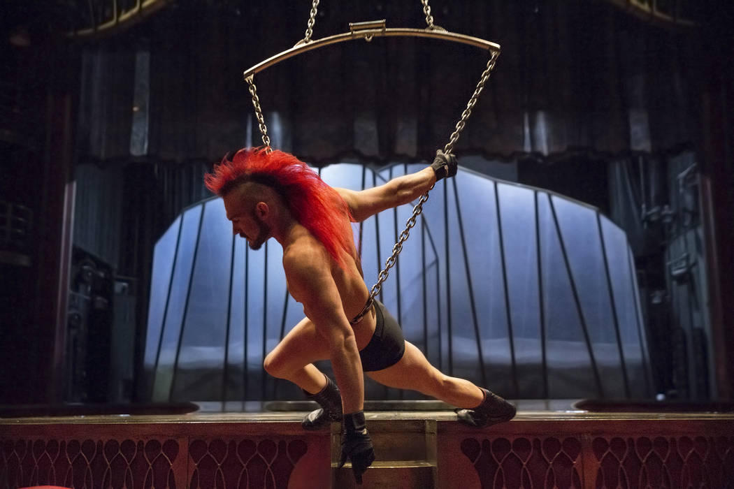 Las Vegas native Brandon Pereyda works through his pre-show routine for Cirque du Soleil's Zumanity on July 28, 2017, at New York-New York hotel-casino, in Las Vegas. Benjamin Hager Las Vegas Revi ...
