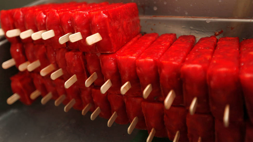 Popsicles line up in the kitchen at La Flor de Michoacan in Las Vegas, Saturday, Aug. 26, 2017.  Chitose Suzuki Las Vegas Review-Journal @chitosephoto