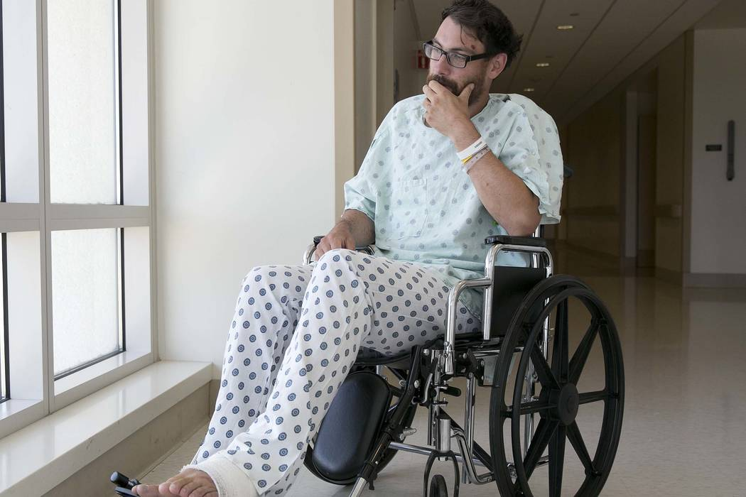 Mathias Steinhuber, of Innsbruck, Austria, who survived being struck by a lighting bolt, pauses while discussing the near-fatal event, Thursday, Aug. 24, 2017, in Sacramento, Calif. Steinhuber had ...