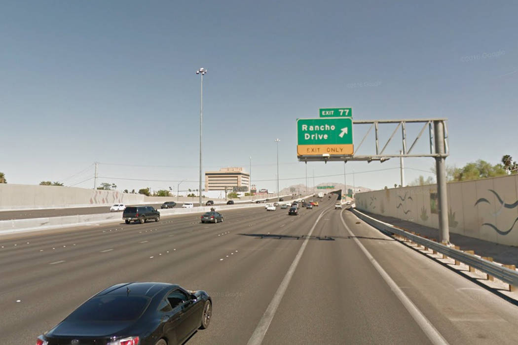 Southbound U.S. 95 will close between Decatur Boulevard and Rancho Drive from 11 p.m. Wednesday to 4 a.m. Thursday (Screengrab/Google Street View)