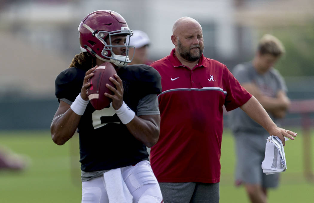 Alabama quarterback Jalen Hurts (2) works through drills during Alabama's football practice, Tuesday, Aug. 22, 2017, in Tuscaloosa, Ala. (Vasha Hunt/AL.com via AP)
