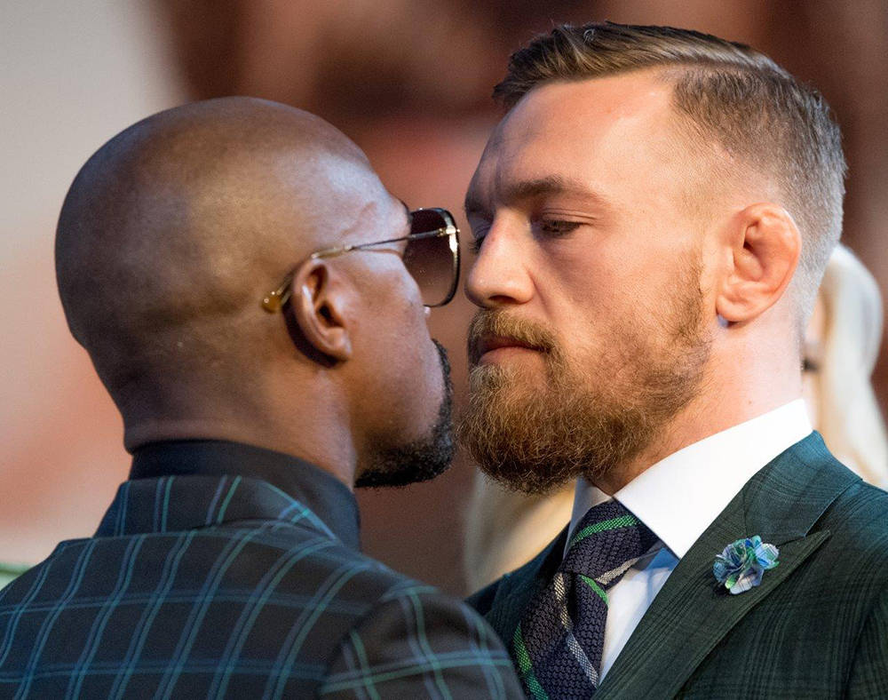Floyd Mayweather and Conor McGregor at a final press conference before the Aug. 26 fight. (Tom Donoghue)