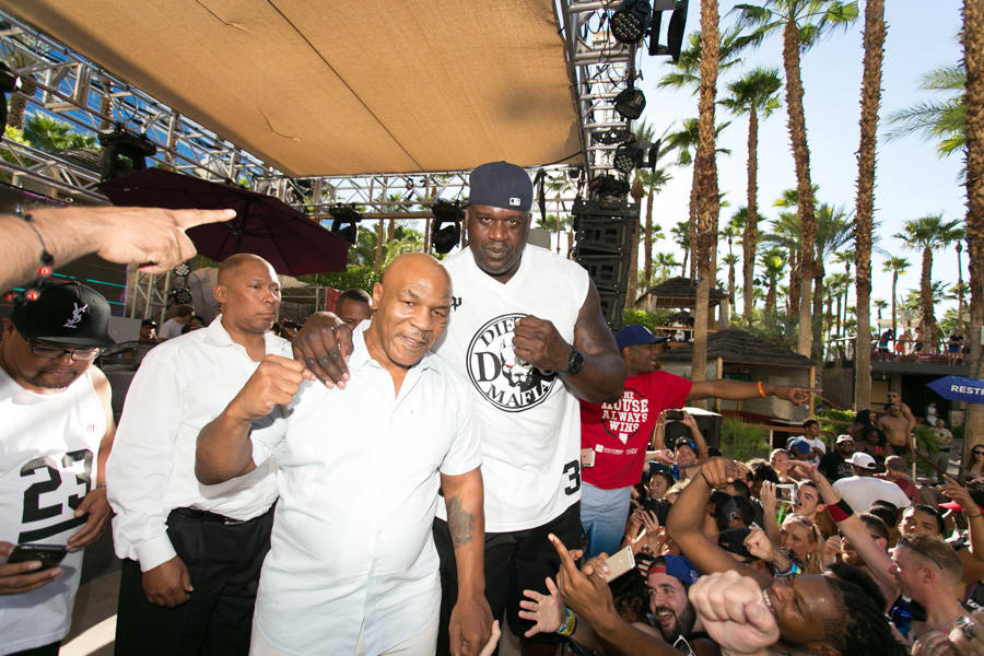 Shaquille O'Neal is shown with Mike Tyson at Rehab at the Hard Rock Hotel on Sunday, Aug. 13, 2017. (Jeff Ragazzo/Kabik Photo Group).