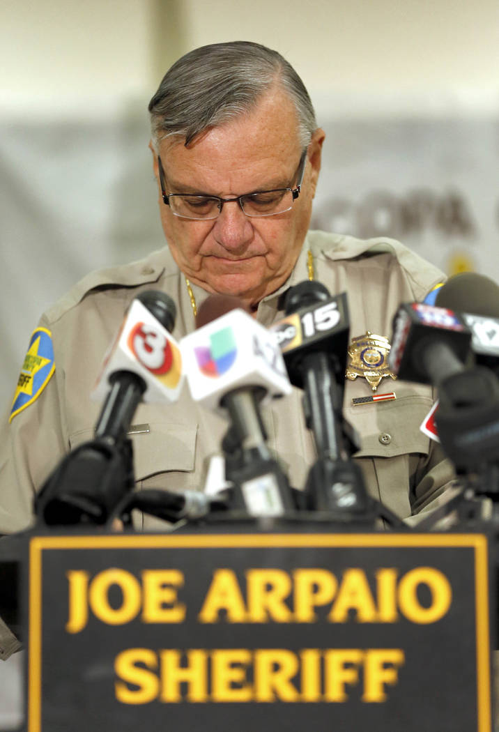 Maricopa County Sheriff Joe Arpaio pauses while speaking about a detention officer who was shot in Phoenix. (AP Photo/Matt York, File)
