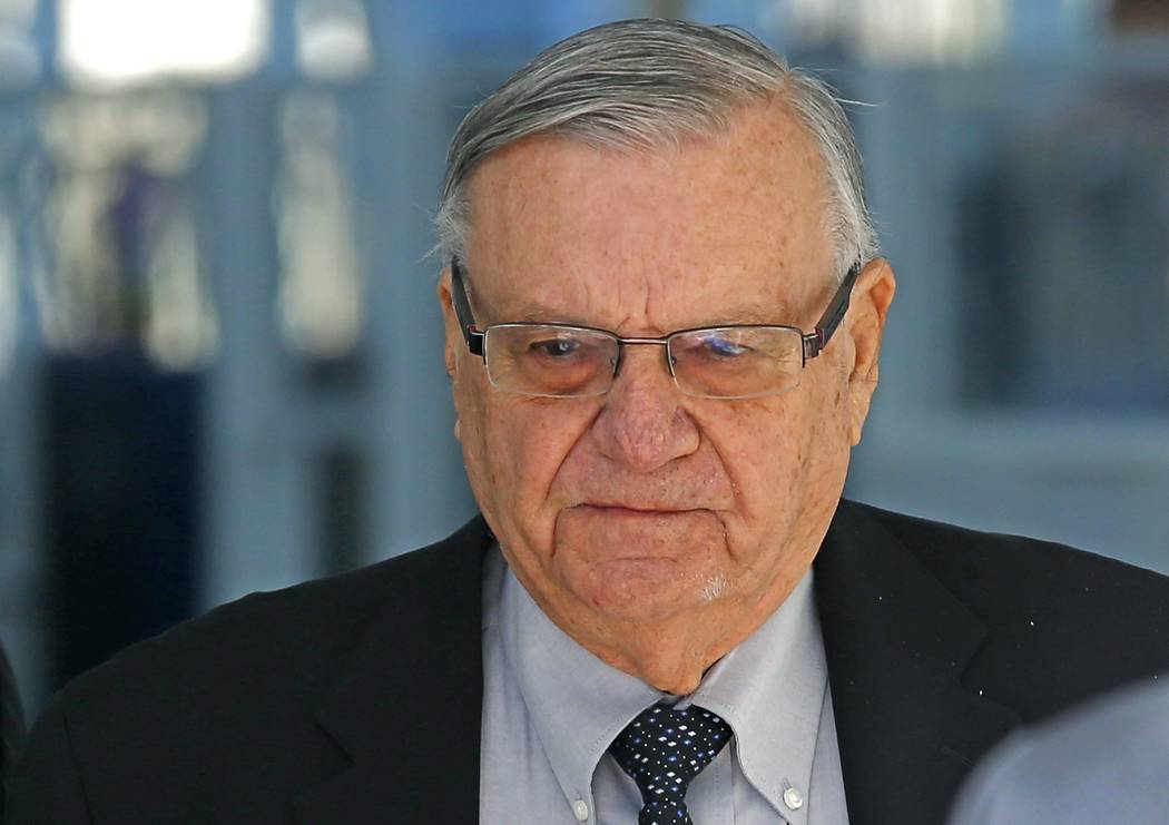 Former Maricopa County Sheriff Joe Arpaio leaves U.S. District Court after his latest hearing in the criminal contempt-of-court case against him for violating a judge's orders in a racial profilin ...