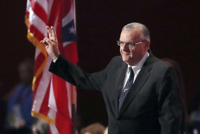 Arizona Sheriff Joe Arpaio walks on the stage to speak during the final day of the Republican National Convention in Cleveland, Ohio, in 206. (AP Photo/Paul Sancya, File)