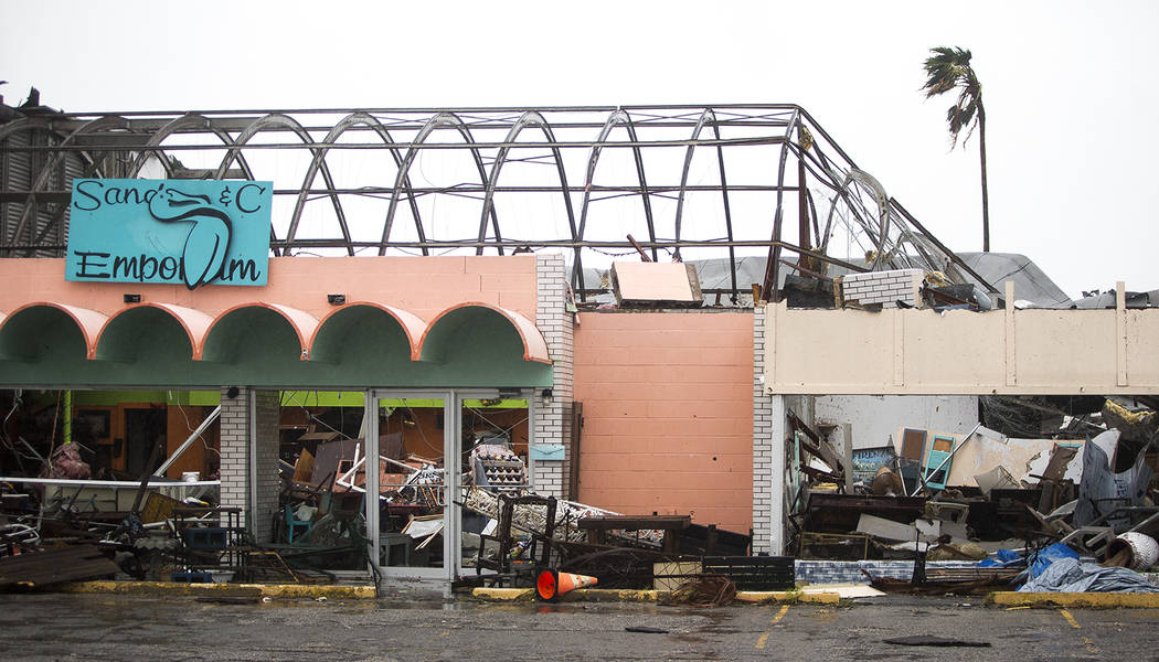 Stores remain destroyed after Hurricane Harvey ripped through Rockport, Texas, on Saturday, Aug. 26, 2017.  The fiercest hurricane to hit the U.S. in more than a decade spun across hundreds of mil ...