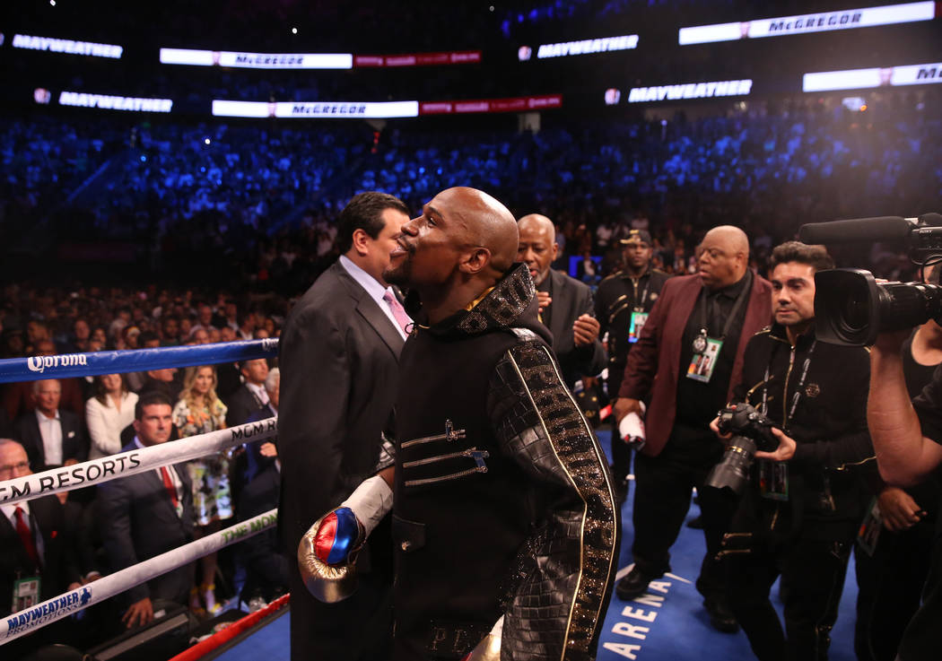 Floyd Mayweather Jr. enters the ring before his fight against Conor McGregor at T-Mobile Arena, Saturday, Aug. 26, 2017, in Las Vegas. Benjamin Hager Las Vegas Review-Journal