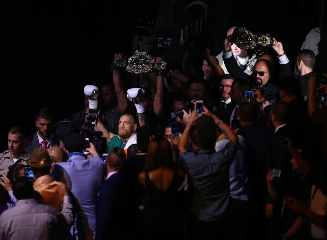 Conor McGregor enters the arena before his fight against Floyd Mayweather Jr. at T-Mobile Arena, Saturday, Aug. 26, 2017, in Las Vegas. Chase Stevens Las Vegas Review-Journal
