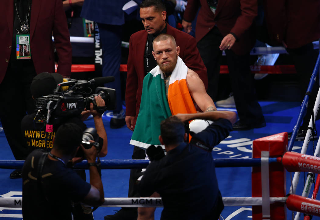 Conor McGregor enters the ring before his fight against Floyd Mayweather Jr. at T-Mobile Arena, Saturday, Aug. 26, 2017, in Las Vegas. Chase Stevens Las Vegas Review-Journal