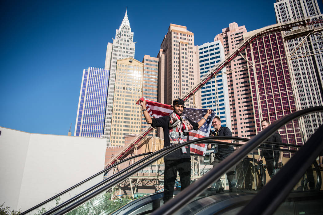 Manjit Singh heading down the escalator before Floyd Mayweather Jr. takes on Conor McGregor at T-Mobile Arena, Saturday, Aug. 26, 2017, in Las Vegas. Morgan Lieberman Las Vegas Review-Journal