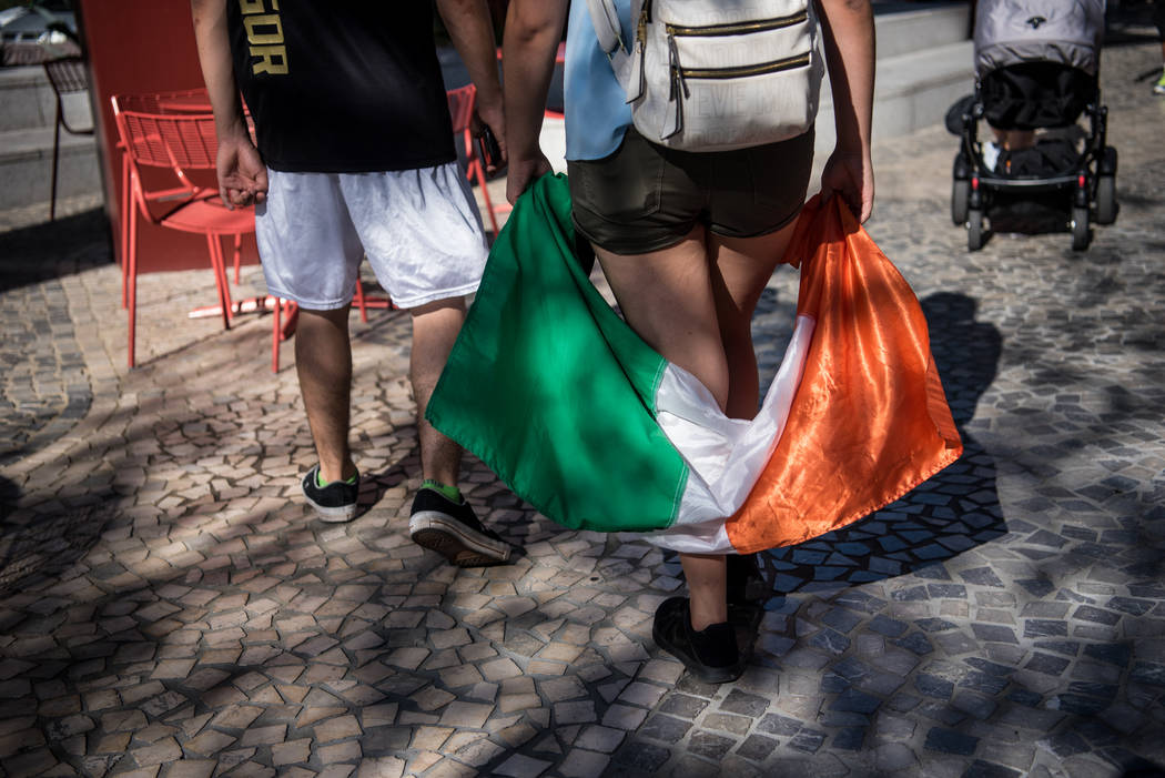 An Irish flag being carried around before Floyd Mayweather Jr. takes on Conor McGregor at T-Mobile Arena, Saturday, Aug. 26, 2017, in Las Vegas. Morgan Lieberman Las Vegas Review-Journal