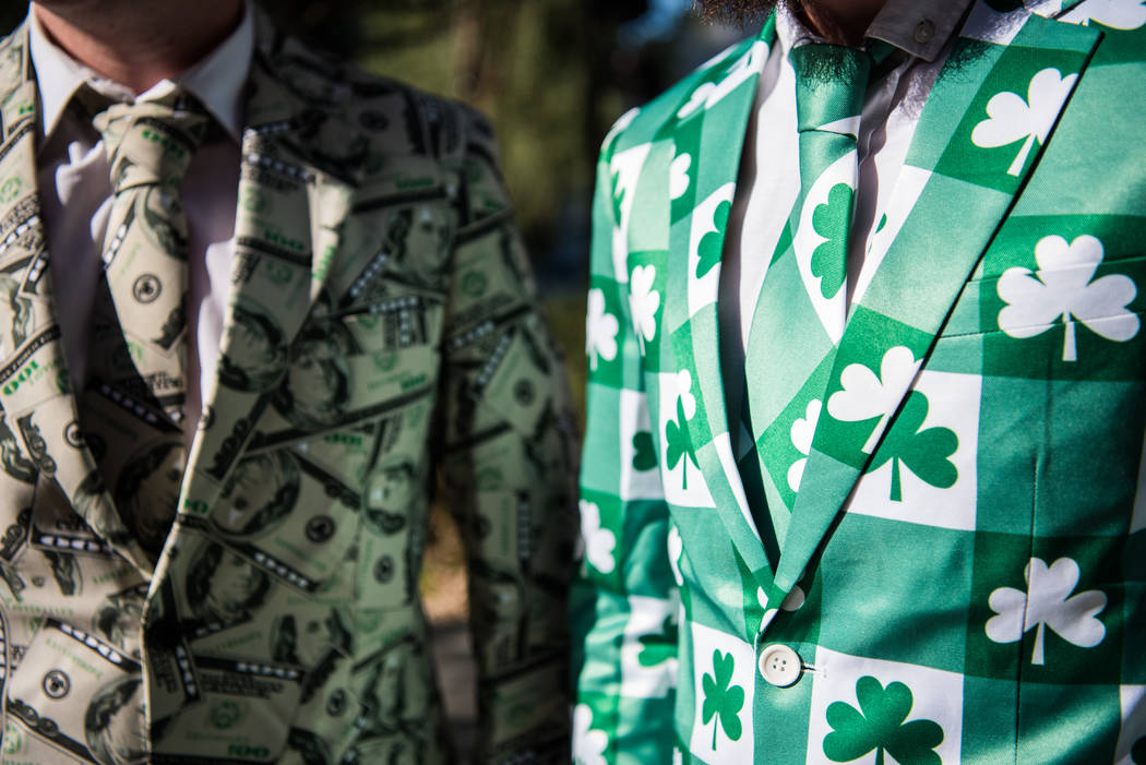 English residents Terry Watson and Jamie Cooper in themed outfits before Floyd Mayweather Jr. takes on Conor McGregor at T-Mobile Arena, Saturday, Aug. 26, 2017, in Las Vegas. Morgan Lieberman Las ...