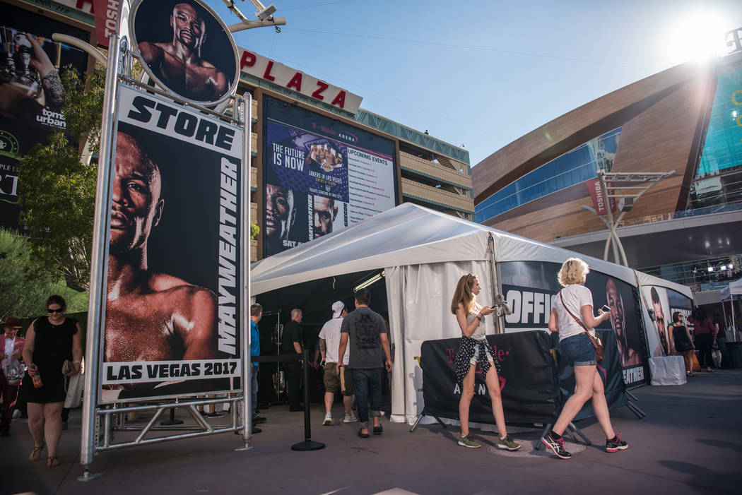 The official Mayweather merchandise store before Floyd Mayweather Jr. takes on Conor McGregor at T-Mobile Arena, Saturday, Aug. 26, 2017, in Las Vegas. Morgan Lieberman Las Vegas Review-Journal