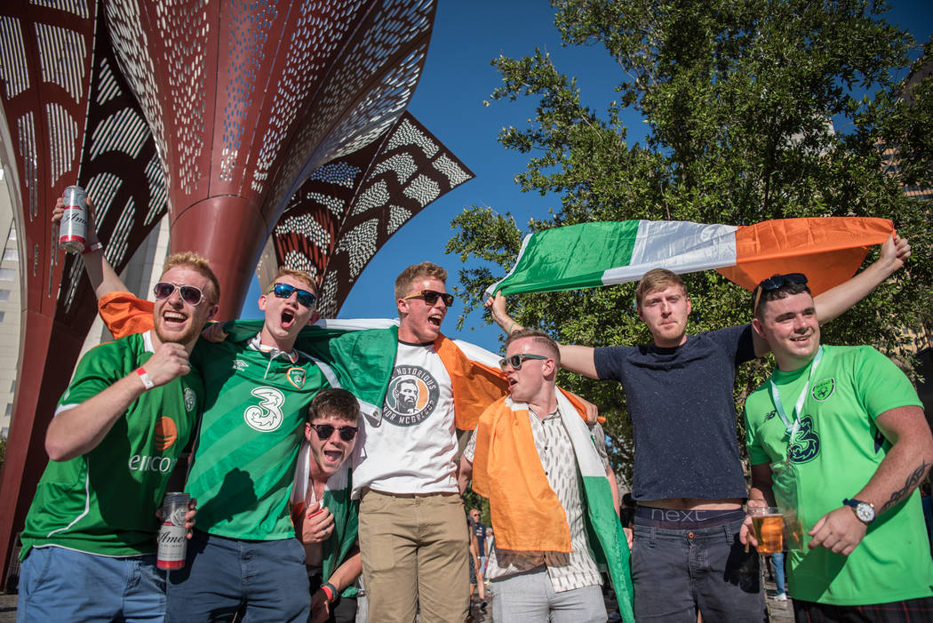 McGregor fans before Floyd Mayweather Jr. takes on Conor McGregor at T-Mobile Arena, Saturday, Aug. 26, 2017, in Las Vegas. Morgan Lieberman Las Vegas Review-Journal