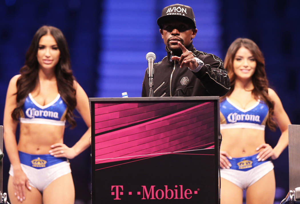 Floyd Mayweather addresses the media  after defeating Conor McGregor on Saturday, Aug 26, 2017, at T-Mobile Arena, in Las Vegas. Benjamin Hager Las Vegas Review-Journal @benjaminhphoto