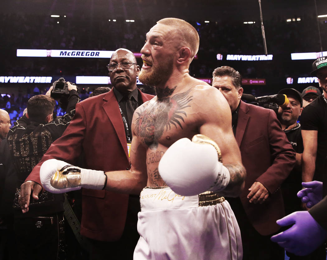 Conor McGregor puts his hands up in frustration after his TKO loss to Floyd Mayweather on Saturday, Aug 26, 2017, at T-Mobile Arena, in Las Vegas. Benjamin Hager Las Vegas Review-Journal @benjamin ...