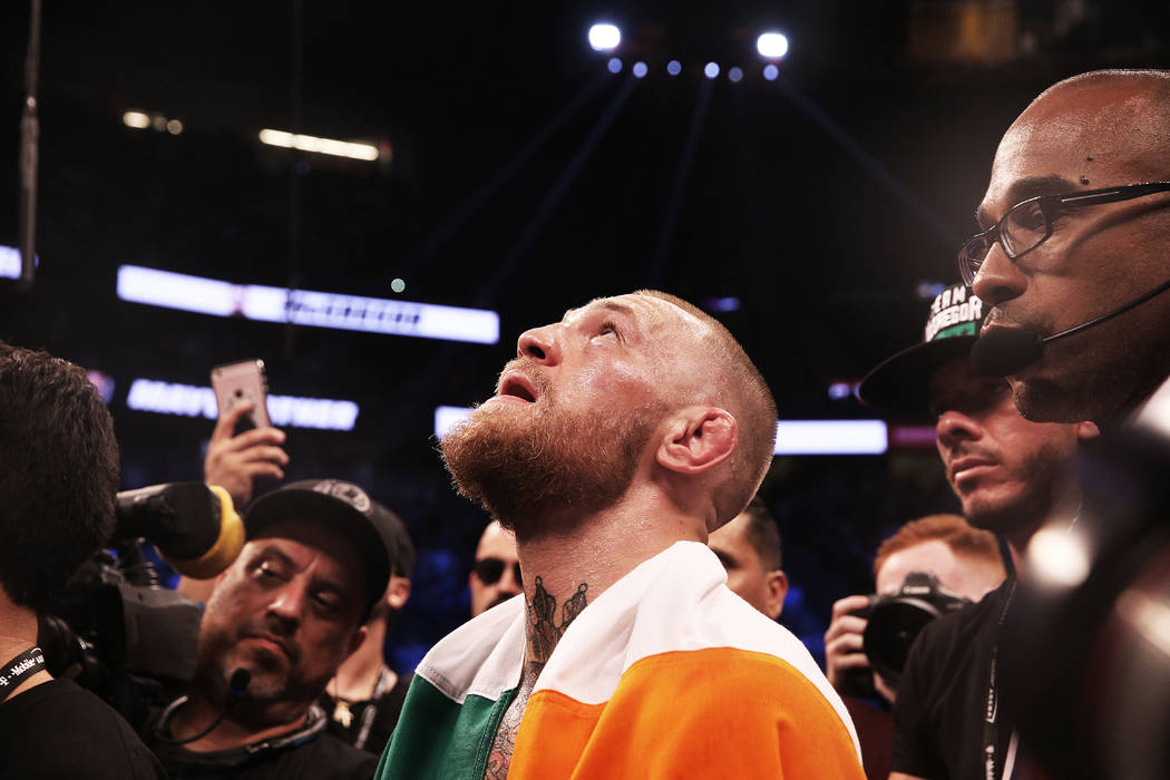 Conor McGregor looks up in frustration after his TKO loss to Floyd Mayweather on Saturday, Aug 26, 2017, at T-Mobile Arena, in Las Vegas. Benjamin Hager Las Vegas Review-Journal @benjaminhphoto