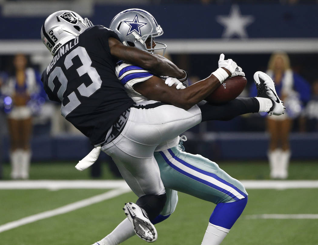 Oakland Raiders cornerback Dexter McDonald (23) breaks up a pass intended for Dallas Cowboys wide receiver Noah Brown (85) in the second half of a preseason NFL football game, Saturday, Aug. 26, 2 ...