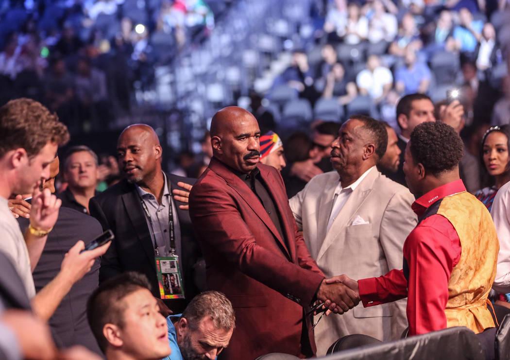 Steve Harvey before Floyd Mayweather Jr. takes on Conor McGregor at T-Mobile Arena, Saturday, Aug. 26, 2017, in Las Vegas. Benjamin Hager Las Vegas Review-Journal
