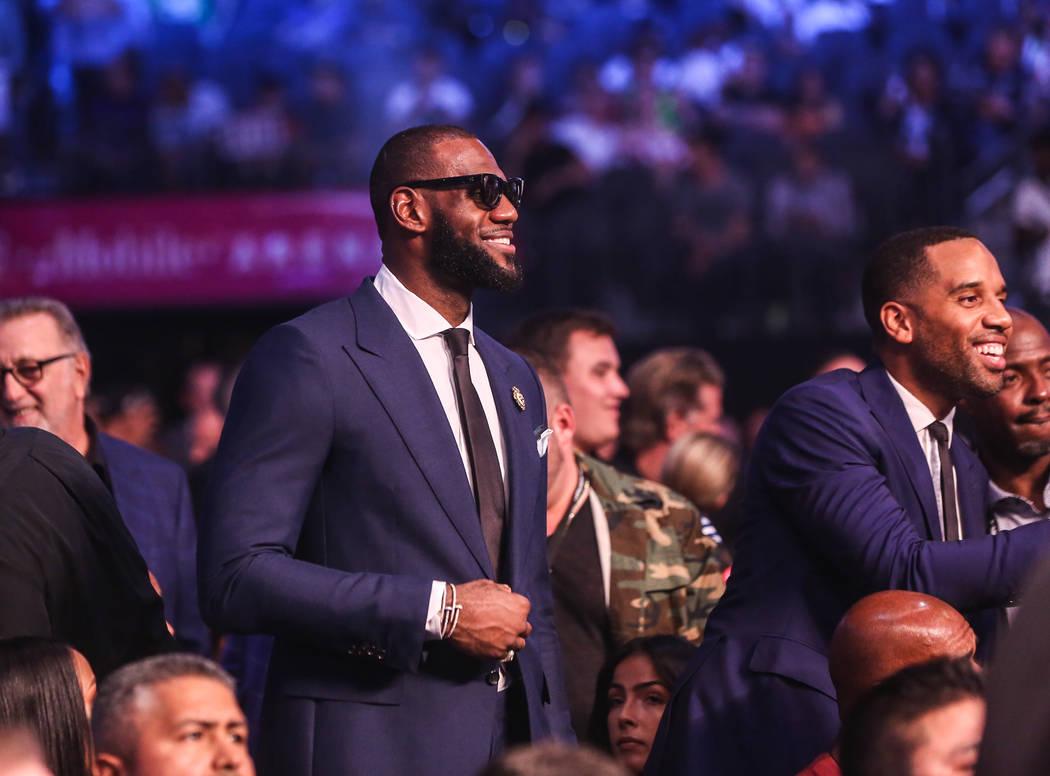 LeBron James before Floyd Mayweather Jr. takes on Conor McGregor at T-Mobile Arena, Saturday, Aug. 26, 2017, in Las Vegas. Benjamin Hager Las Vegas Review-Journal