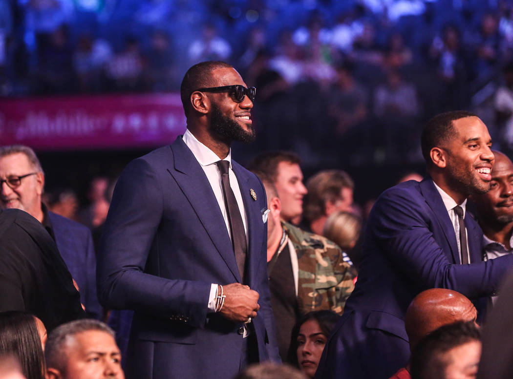 LeBron James before Floyd Mayweather Jr. takes on Conor McGregor at T-Mobile Arena, Saturday, Aug. 26, 2017, in Las Vegas. Benjamin Hager Las Vegas Review-Journal