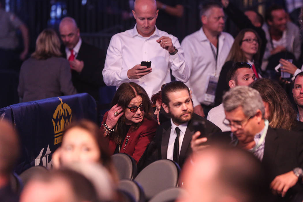 Ozzy Osbourne before Floyd Mayweather Jr. takes on Conor McGregor at T-Mobile Arena, Saturday, Aug. 26, 2017, in Las Vegas. Benjamin Hager Las Vegas Review-Journal